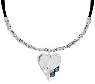 Hagit Sterling Silver & Leather Necklace with Pearl Pendant