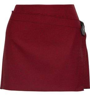 Helmut Lang Wrap-Effect Houndstooth Wool-Blend Mini Skirt