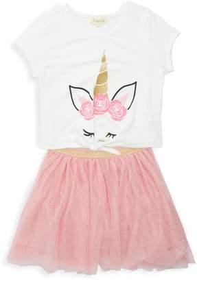 Btween Little Girl's & Girl's 2-Piece Unicorn Tie-Waist Top & Tulle Skirt Set
