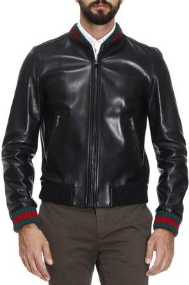 Gucci Jacket Lambskin Bomber Jacket With Virgin Wool Finishes And Web Detail