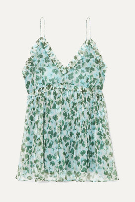 Lee Mathews - Nina Ruffled Floral-print Silk-crepon Camisole - Green