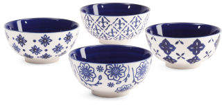 4pk Geo Print Stoneware Bowls