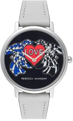 Rebecca Minkoff Major Silver Tone White Strap Watch, 35Mm