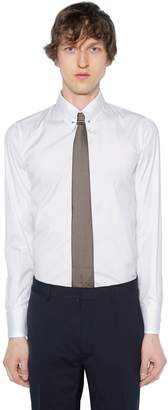 DSQUARED2 Slim Fit Pin Collar Stretch Poplin Shirt