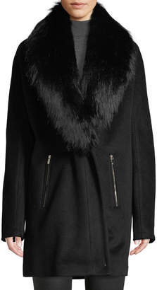 Iconic American Designer Removable Faux-Fur-Collar Wool Coat