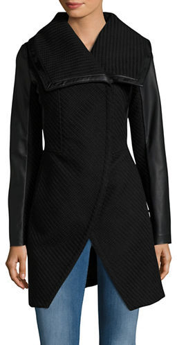 Betsey Johnson Betsey Johnson Mixed-Media Coat