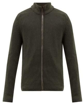Iris von Arnim Penley Stonewashed Cashmere Zip Through Sweater - Mens - Green