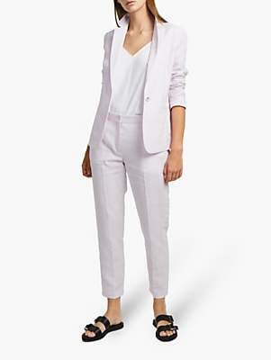 French Connection Dina Linen Trousers, Lavender Frost