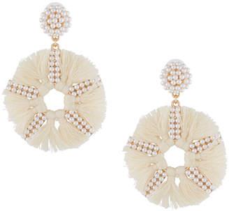 Panacea Pearly Bead & Tassel Circle-Drop Earrings