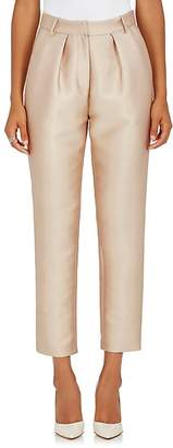 Co Women's Bonded Cotton-Blend Pleated Crop Trousers