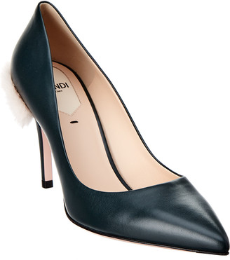 Fendi Court Leather & Fur Pump