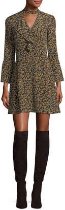 Derek Lam 10 Crosby Bell-Sleeve Cascade-Ruffle Printed Silk A-line Dress