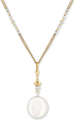 "Lucky Brand Two-Tone Bead, Stone & Imitation Mother-of-Pearl Double-Chain Reversible Pendant Necklace, 26-1/2"" + 2"" extender"