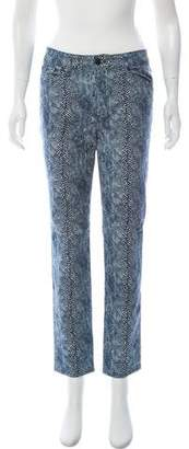 Tory Burch Mid-Rise Animal Print Jeans