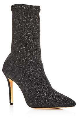 Schutz Women's Sciarpe Glitter Stretch High-Heel Booties