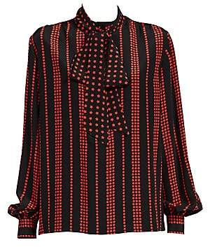Saint Laurent Women's Striped Star Print Tie-Neck Blouse