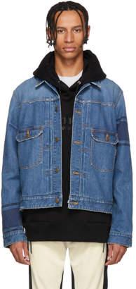 mastermind WORLD Indigo Denim Striped Jacket