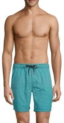 Mr.Swim Diamond-Print Swim Shorts