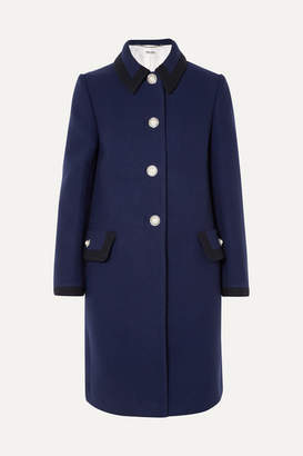 Miu Miu - Embellished Wool Coat - Navy