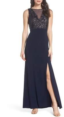 Morgan & Co. Sequin Bodice Illusion Neck Gown