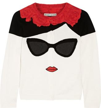 Alice + Olivia - Stace Face Frida Intarsia Cotton Cardigan - Cream $400 thestylecure.com