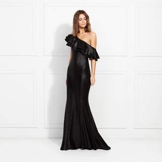 Rachel Zoe Jaz One-Shoulder Ruffled Fluid Sequin Gown