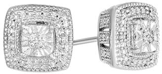 Jewel Zone US Natural Diamond Squre Stud Earrings in 14k Gold Over Sterling Silver (1/10 CTTW, Color - I-J, Clarity - I2-I3)