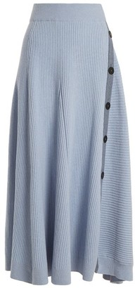Roksanda Kaori Buttoned A Line Skirt - Womens - Light Blue