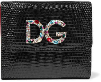 Dolce & Gabbana Embellished Lizard-effect Patent-leather Wallet - Black