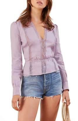 Reformation Odette Lace Inset Top