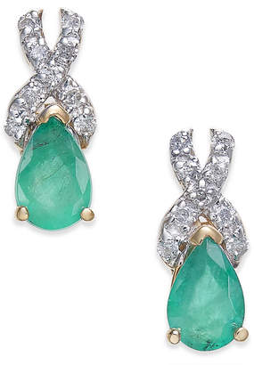 Macy's Emerald (3/4 ct. t.w.) & Diamond (1/8 ct. t.w.) Drop Earrings in 14k Gold