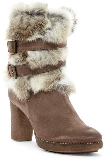 Manas Genuine Rabbit Fur Trimmed Ankle Boot