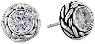 925 Sterling AAA Cubic Zirconia Oxidized Round Stud Earrings