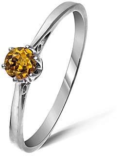 Fashion World 9ct White Gold 0.25Ct Honey Zircon Ring