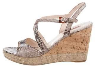 Prada Sport Snakeskin Wedge Sandals
