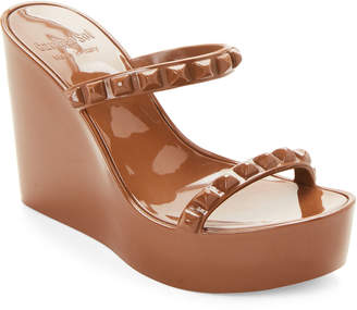 Carmen Sol Brown Studded Wedge Jelly Sandals