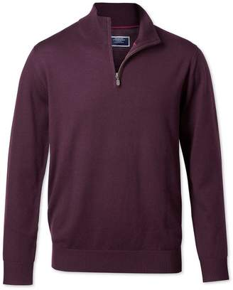 Charles Tyrwhitt Wine Zip Neck Merino Wool Sweater Size Large