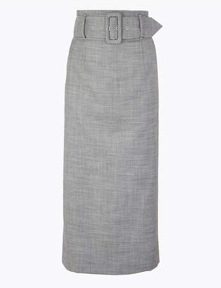 Marks and Spencer Belted Pencil Midi Skirt