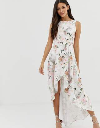 Chi Chi London midi dress with wrap skirt and hi low hem in floral print