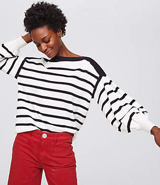 LOFT Striped Blouson Sweater