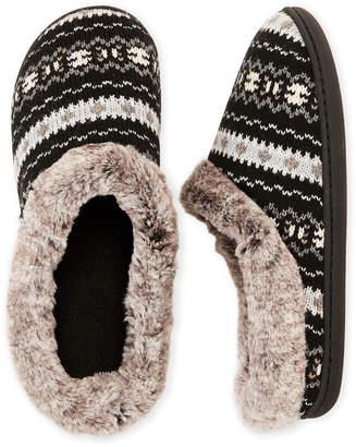 Dearfoams Faux Fur Trim Knit Hoodback Slippers