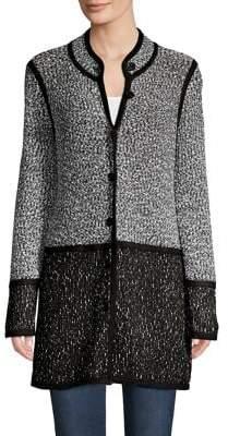 Karl Lagerfeld Paris Colorblock Cotton-Blend Long Cardigan
