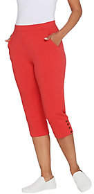 Denim & Co. Active Wide Cuff Knit Capri Pantswith Buttons