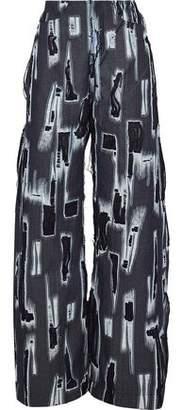 Marques Almeida Marques' Almeida Distressed Chiffon-Trimmed High-Rise Wide-Leg Jeans