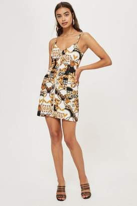 Topshop Chain Print Denim Dress