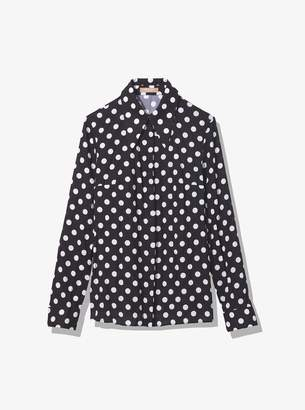 Michael Kors Coin Dot Crushed Georgette Blouse
