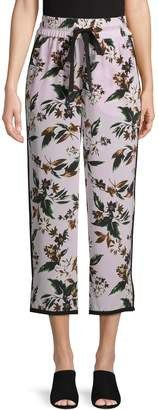 Diane von Furstenberg Floral-Print Silk Drawstring Pants