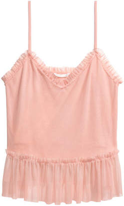 H&M Ruffle-trim Mesh Camisole Top - Orange