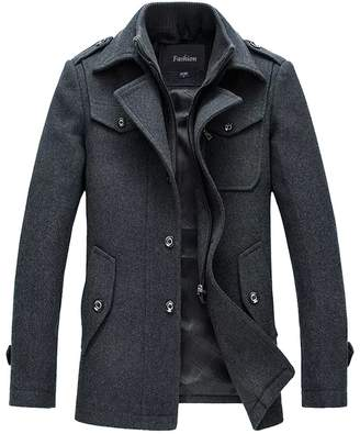 In-fashion style Men's Winter Pea Coat Single Breasted Thicken Warm Military Peacoat Jacket