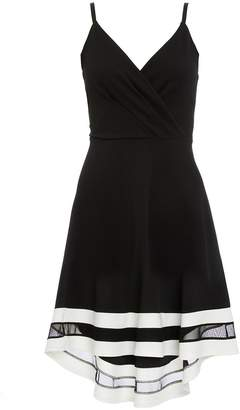 Quiz Black And Cream Wrap Dip Hem Dress